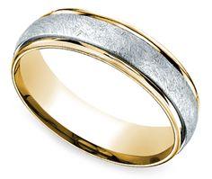 Two Toned Swirl Men's Wedding Ring in Platinum & Yellow Gold