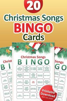 Printable Christmas Games, Fun Christmas Games, Christmas Music, Christmas Cards, Bingo Set, Bingo Games, Music Bingo, Etsy Shop, Cheer