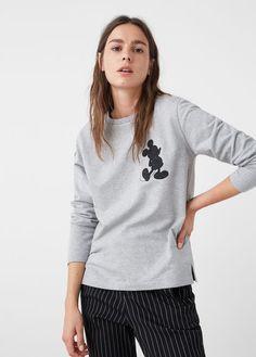 Mickey mouse sweatshirt - Sweatshirts for Woman High Street Fashion, Street Style, Mickey Mouse Sweatshirt, Mango Tops, Embroidered Sweatshirts, Manga, Heather Grey, Pullover, Hoodies