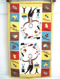Vintage Towel Scrambled Eggs Juggling Kitchen at NeatoKeen on Etsy Vintage Tea, Retro Vintage, Dottie Angel, Linen Apron, Scrambled Eggs, Food Illustrations, Kitchen Towels, Freckles, The Magicians