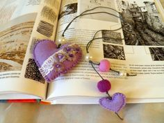 VALENTINE BOOKMARK / Felt bookmark with a lilac heart by Marywool, $11.00