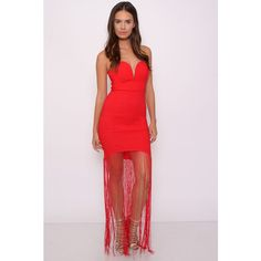 Rare London Red Sweetheart Fringe Maxi Dress (93 CAD) ❤ liked on Polyvore featuring dresses, party dresses, long dresses, pink dress, red dress and maxi dress