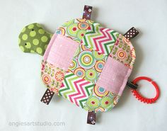 Wanda the Patchwork Turtle Crinkle Toy comes with Teething Ring Link, Pink and Green - Great Baby Girl Gift