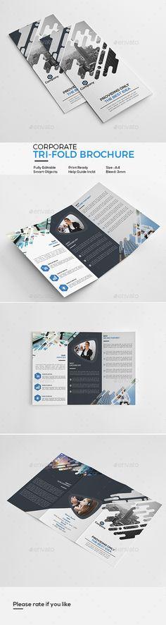 Corporate Tri-Fold Brochure Template PSD #design #download