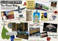 """A road map based on the movie """"Elizabethtown"""", like the one made by Claire (Kirsten Dunst) at the end of the movie. Go check out the original one in high resolutions over at our website: http://www.filmsdelover.com/2012/05/03/10-endroits-des-etats-unis-d-am%C3%A9rique-vus-dans-rencontres-%C3%A0-elizabethtown/"""