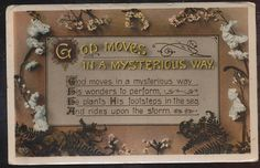 God Moves in Mysterious Ways Poem Antique Greeting Postcard-bbb669