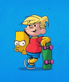 Dennis the Menace and Bart Illustration by Alex Solis Comic Art, Character Design, Illustration, Animated Characters, Animation, Book Art, Pop Art, Cartoon Crossovers, Cartoon Art