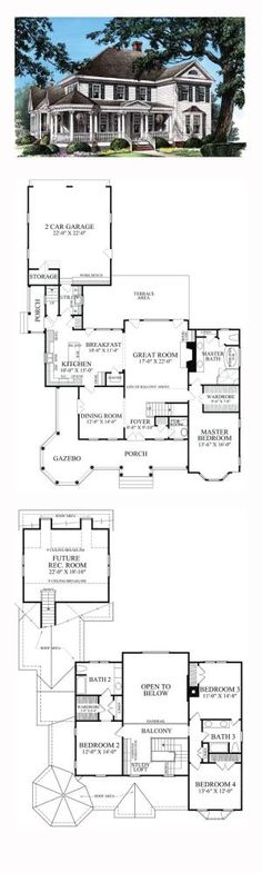 Victorian Style COOL House Plan ID: chp-47682   Total Living Area: 2825 sq. ft., 4 bedrooms and 3.5 bathrooms. #victorianhome by sonya
