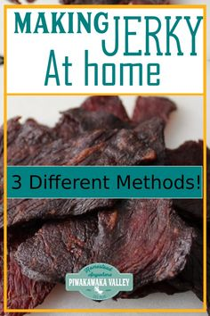 How to make beef or deer jerky at home in the oven, dehydrator or smoker with fu. - How to make beef or deer jerky at home in the oven, dehydrator or smoker with full instructions ste - Keto Beef Jerky Recipe, Smoker Jerky Recipes, Jerkey Recipes, Homemade Beef Jerky, Venison Recipes, Beef Jerky In Smoker, Deer Jerky Recipe In Oven, Old Fashioned Beef Jerky Recipe, Gluten Free Jerky Recipe