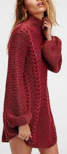 Knit Long Sleeve Dress w Cables - Made to Order This simple, yet stylish dress is hand-knitted in a cotton or wool blend with long, puffy sleeves for comfort and warmth. Contact me for color and measurements. Sweater Knitting Patterns, Hand Knitting, Crochet Patterns, Knit Fashion, Womens Fashion, Stylish Dresses, Pulls, Knit Dress, Cowl Neck Sweater Dress