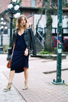 fashion blog, effortless casual cool street style, aritzia brown bega bag, navy midi dress, leather jacket, blonde ombre hair