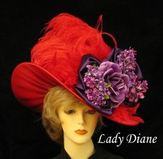 Retro Hats Are the Craze For Stylish Diva's Who Love a Red Hat - Stacha Styles Red Hat Club, Red Hat Ladies, Wearing Purple, Red Hat Society, Kentucky Derby Hats, Love Hat, Pink Hat, Red Hats, Queen