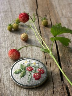 hand embroidered brooch with wild strawberry by BelaStitches