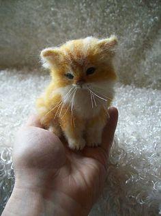 Needle Felted Orange Tabby Long Haired Kitten Cat 4 1 4 inches OOAK by Artist | eBay