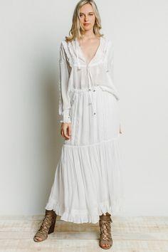 Chan Luu Bethany Peasant Skirt in White