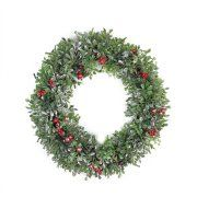 """20"""" Boxwood and Berries Pine Cone Artificial Christmas Wreath - Unlit"""