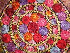Antique MATYO SILK EMBROIDERED TABLECLOTH Hungarian 1910 Art Nouveau Multi-Color