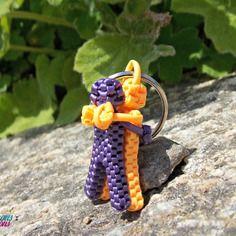 Porte-clés inséparables violet et orange scoubidous