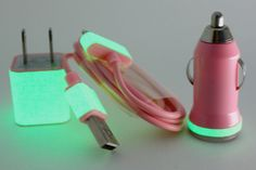 Pink Glow in the dark iPhone charger set Etsy.