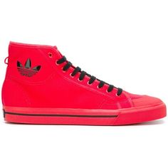 Adidas By Raf Simons 'Spirit' hi-top sneakers ($118) ❤ liked on Polyvore featuring shoes, sneakers, red, red leather sneakers, adidas trainers, lace up sneakers, leather sneakers and adidas shoes