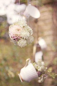 Hanging teacups with flower inside | Wedding Decoration
