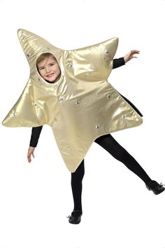 Disfraz de estrella infantil Navidad: Este disfraz de estrella para niño está compuesto por un mono (jersey, medias y zapatos no incluidos). El mono tiene forma de estrella, de color dorado por delante y negro por...