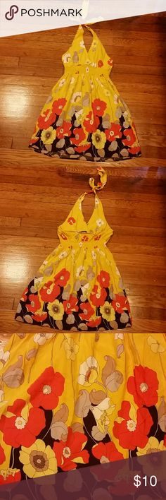 Yellow Forever 21 Sundress Size Small. Forever 21. Above the knee. Halter top sundress. Floral Print. Gently worn. Forever 21 Dresses