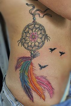 Dream Catcher Tattoo On Side Dreamcatchertattoos  Girl Left Rib Side Color Feathers