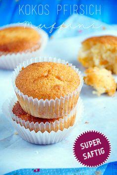 Super saftig, super lecker: Kokos-Pfirsich Muffins http://spoonandkey.blogspot.de/2015/04/kokos-pfirsich-muffins-rezept.html