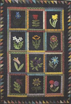 Primitive Folk Art Wool Applique Quilt Pattern:   BUD GARDEN