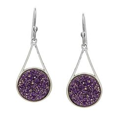 Sterling Silver Purple Druzy Earrings ** Details can be found by clicking on the image.