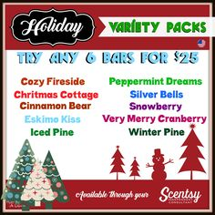 Holiday Variety Bundle - Choose any 6 for $25. Rhiannonlewis.scentsy.us