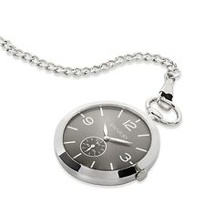 A personalized pocket watch is a classic and timeless accessory.Our Open Face Pocket Watch features slim design witha black face and polished silver details. Engrave a name, monogram or special message on back of the pocket watch. https://www.thingsremembered.com/product/Open-Face-Pocket-Watch/177255.uts