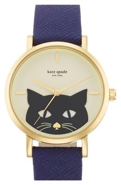 kate spade new york 'novelty metro' cat dial leather strap watch, available at Supernatural Style Stylish Watches, Watches For Men, Cat Watch, Beautiful Watches, Fashion Watches, Women's Fashion, Fashion Accessories, Lingerie, Kate Spade Watch