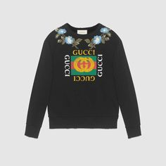 2807e02f363 GUCCI Cotton sweatshirt with Gucci logo and flowers - black cotton.