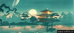 Thefoxisblack_com asian oriental cultural lakes ponds gardens nature art animals birds crane flowers lily lilies sky moon reflection mood architecture fantasy castle buildings trees landscapes wallpaper Japanese Artwork, Japanese Painting, Painting Wallpaper, Hd Wallpaper, Computer Wallpaper, Painting Art, Canvas Poster, Poster Prints, Art Prints