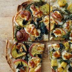 Peach, Basil & Escarole Pizza. Unusual ingredients that make for a tasty and seasonal dinner. Yum!