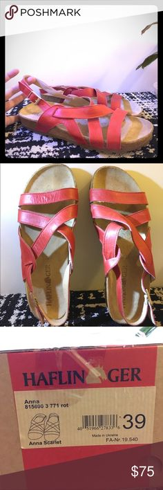 Haflinger Anna Sandal Tried on, never worn. Excellent condition. Super comfy, amazing quality, German brand red sandal! They are great for arch support yet not quite as high as classic Birkenstocks. But most likely will form fit to your feet similarly to Birks over time. Excellent condition, brand new with box. Bright rose red. Cute with skirts for Spring/summer! Haflinger Shoes Sandals