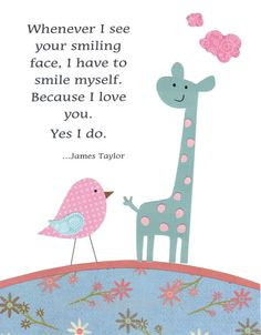 I love me some James Taylor!!!  Kids Wall Art for Children Teal Pink by vtdesigns, $14.00