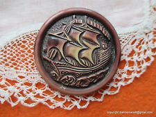 2230 – J – Cool One-Piece 30 Celluloid Clipper Ship Circa 1930's Vintage Button