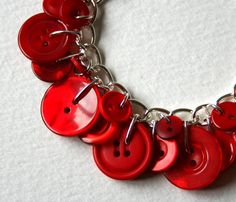 Fire Engine Red Button Charm Bracelet