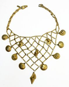 YSL Yves Saint Laurent Seashell Bib Necklace by Vintageables