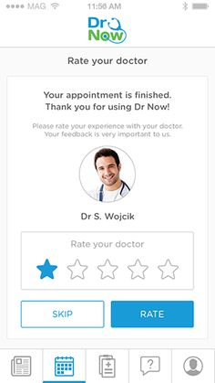 Once you've had your remote consultation, the Dr Now app allows you to rate your doctor