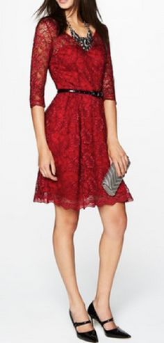 Belted lace dress with black accessories