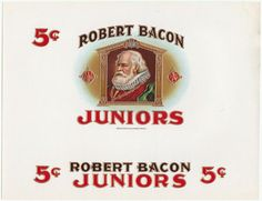 Robert Bacon Juniors Vintage Heavily Embossed Inner Cigar Box Label