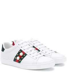 GUCCI Ace Embellished Leather Sneakers. #gucci #shoes #sneakers