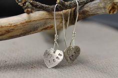 Stamped silver heart earrings rustic minimalist by WhiteLillia, kr249.00