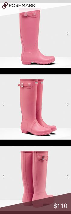 Hunter Rain Boots BNWT mate pink Hunter rain boots. First 4 pictures are not mine, they are stock photos. Last 3 pictures are actual of the boots. No scuffs, scrapes or flaws. Tags are still attached. Did not come with a box. Open to offers but no trades please. Hunter Shoes Winter & Rain Boots