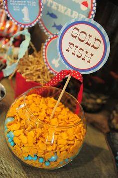 Gone Fishing Birthday Party #goldfish Goldfish party bowl for Fish Birthday Party #fishbirthday