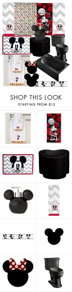"""mouse getting clean"" by lerp ❤ liked on Polyvore featuring Disney, Ethan Allen, York Wallcoverings and Kohler"
